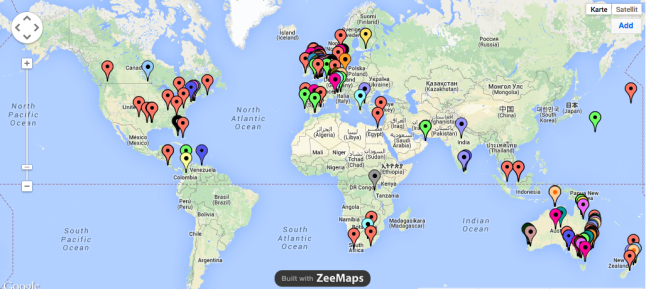 carpe diem MOOC participants on world map